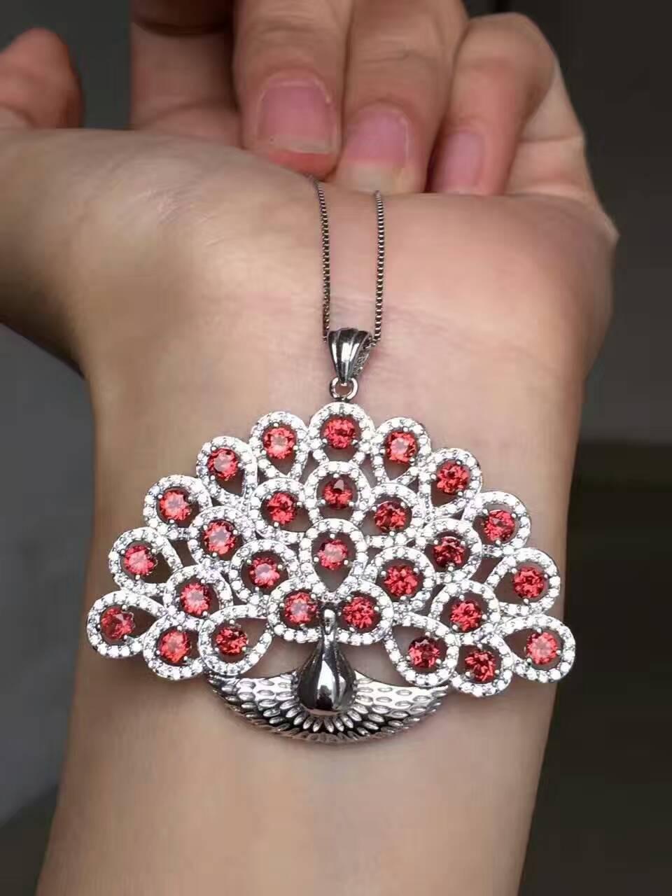 Здесь можно купить  natural red garnet pendant S925 Sterling silver Natural gemstone Pendant Necklace Luxury Phoenix Peacock women girl fine jewelry  Ювелирные изделия и часы