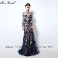 Темно синие вечерние платья с длинным рукавом Sheer Высокая шея Кристалл Вышивка спинки длинное платье для выпускного вечера Дубай ехал De Soiree