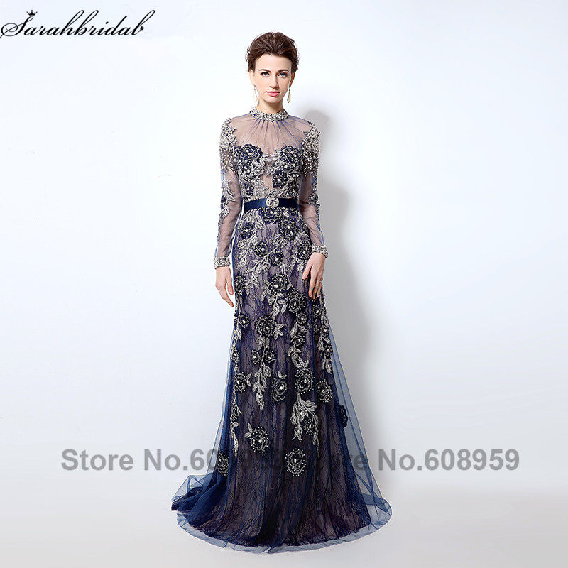 Navy Blue Long Sleeve   Evening     Dresses   Sheer High Neck Crystal Embroidery Backless Long Prom   Dress   Dubai Rode De Soiree LSX014