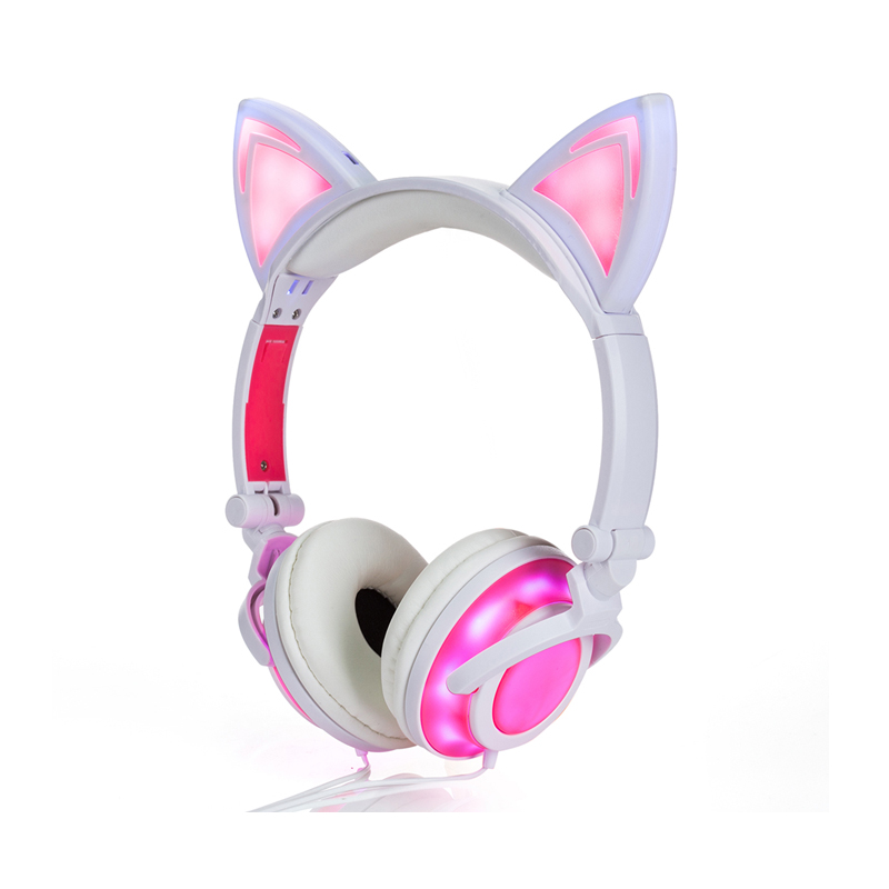 FORNORM 2018 Girls Headphones and Earphone Cat Ear Shape Head-mounted LED Glow Plastic Adjustable Body Cotton Cap Cute Headset