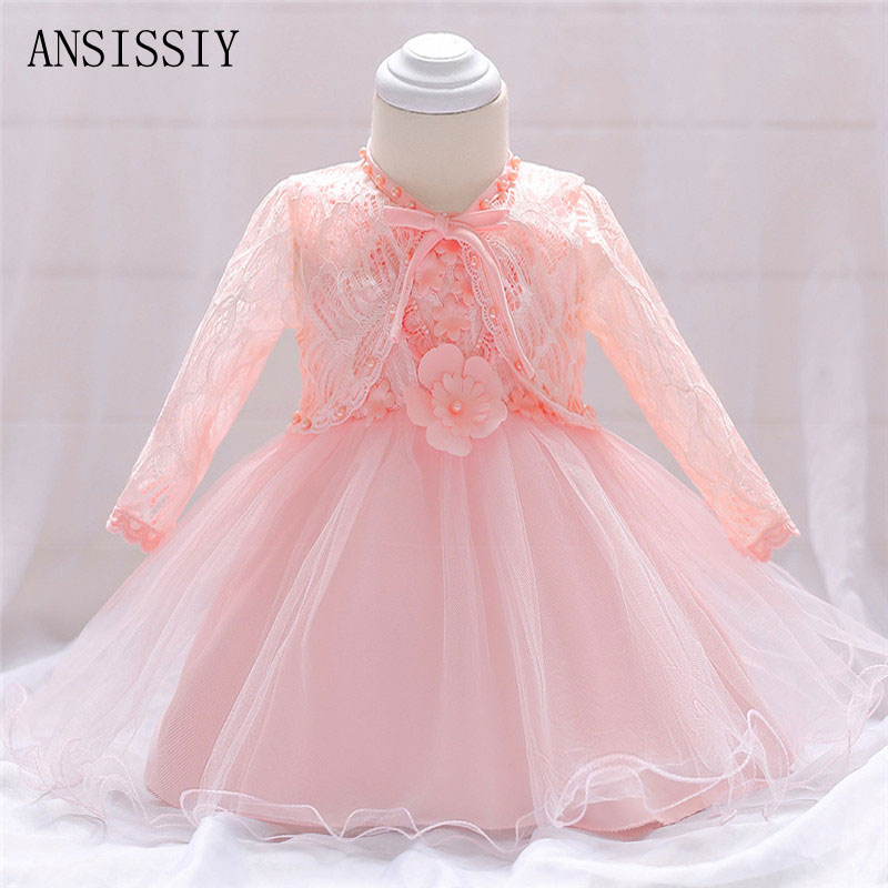 Casual Newborn Flower Dress Summer Infant Toddler Pearl Bow Pattern For Newborn 1 Years Birthday Party Baptism Dress Clothes