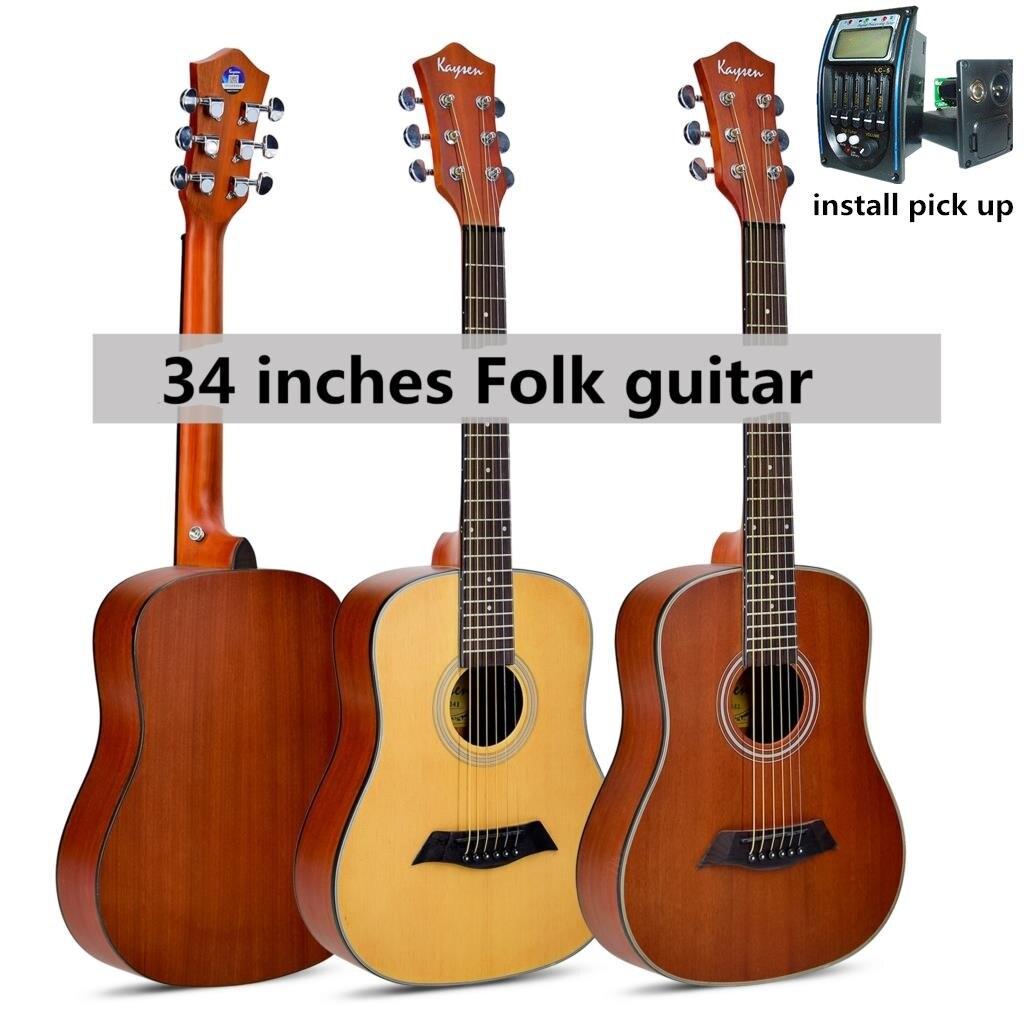 Guitare Acoustique Électrique 34 pouce En Acier-Chaîne Ballades Folk Flattop Guitarra 6 Chaîne Mat Sapele Épinette Rouge Voyage Électro