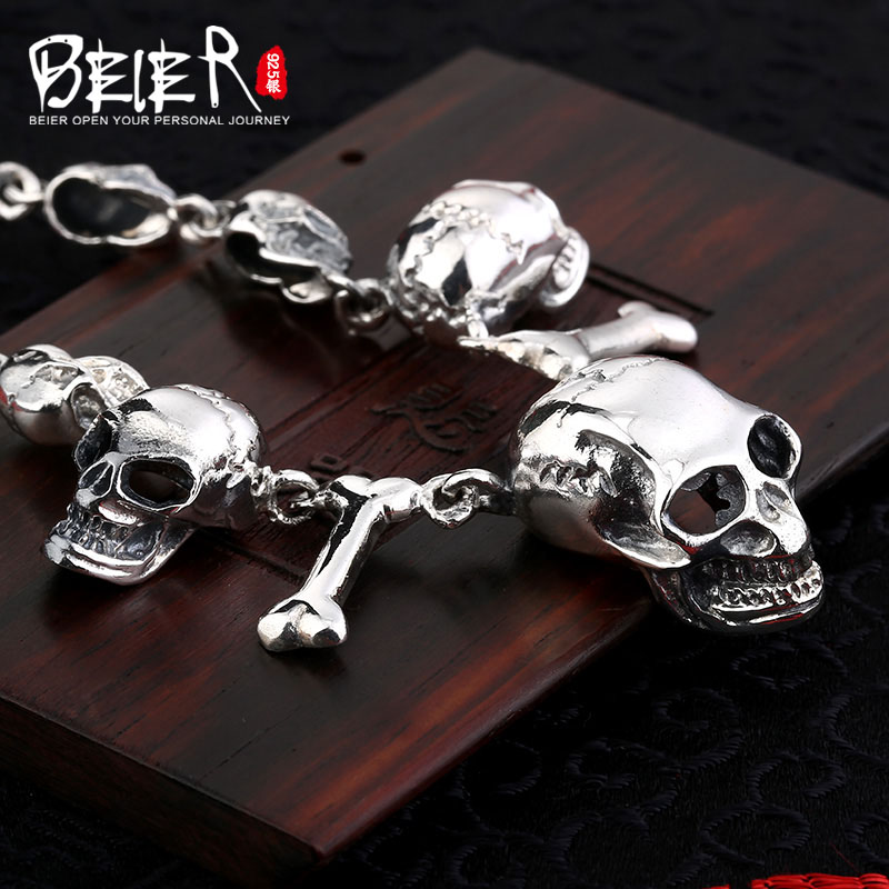 925 sterling silver personality Thai silver pendant jewelry Domineering skull pterosaur men's pendant - 5