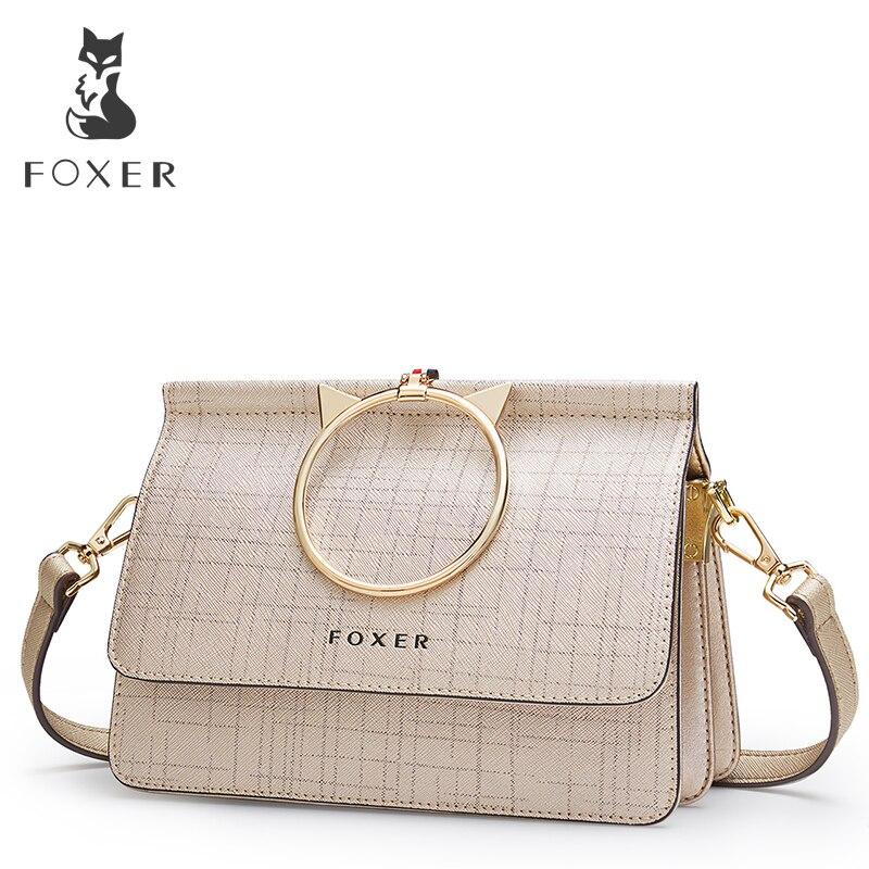 FOXER Brand Women's bag New Fashion Cowhide Leather Crossbody Bag Messenger Bag for Women Female Shoulder Bags foxer brand 2018 women leather crossbody bag
