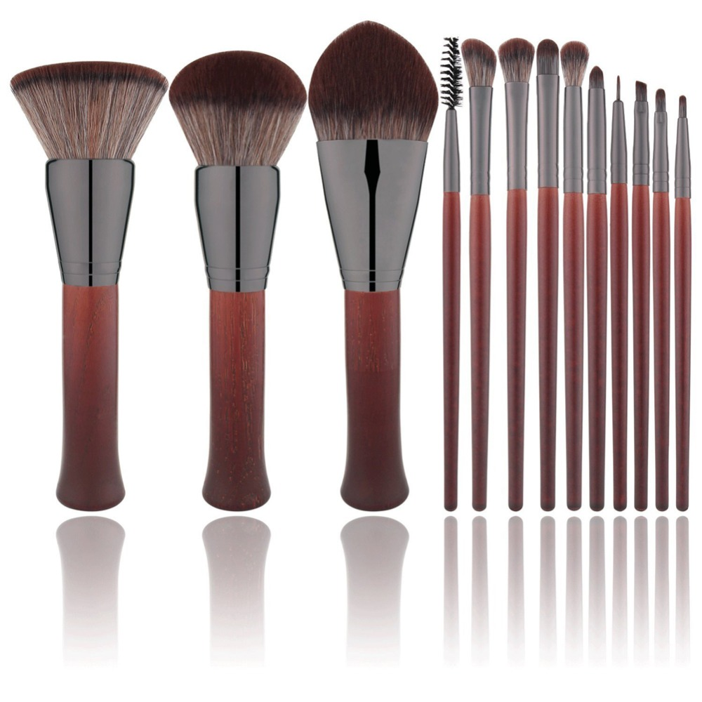 13pcs Red Wooden Makeup Brushes Set Flame Brush Eye Shadow Foundation Cosmetic Powder Blending Kabuki Make Up brush Tool kit shoushoulang w211 professional makeup brush squirrel hair eye shadow brush ebony handle cosmetic tool eye shader make up brush
