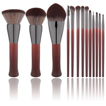 13pcs Red Wooden Makeup Brushes Set Flame Brush Eye Shadow Foundation Cosmetic Powder Blending Kabuki Make Up brush Tool kit