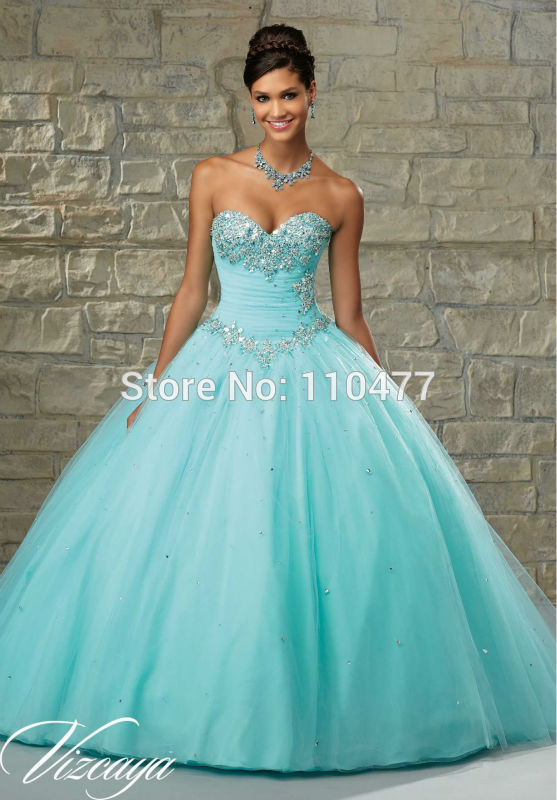 62b3a0021 Bead Crystal Sweetheart Modern Vestidos de 15 Anos 2015 TA028 Light Blue  Aqua Quinceanera Dresses Ball Gowns-in Quinceanera Dresses from Weddings    Events ...