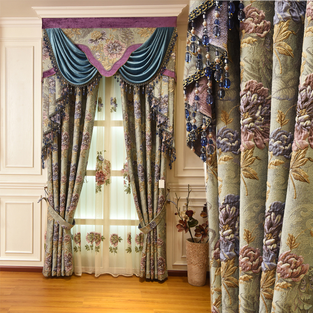 Luxury 3D embossed jacquard shading living room curtains for matching embroidery peacock tulle