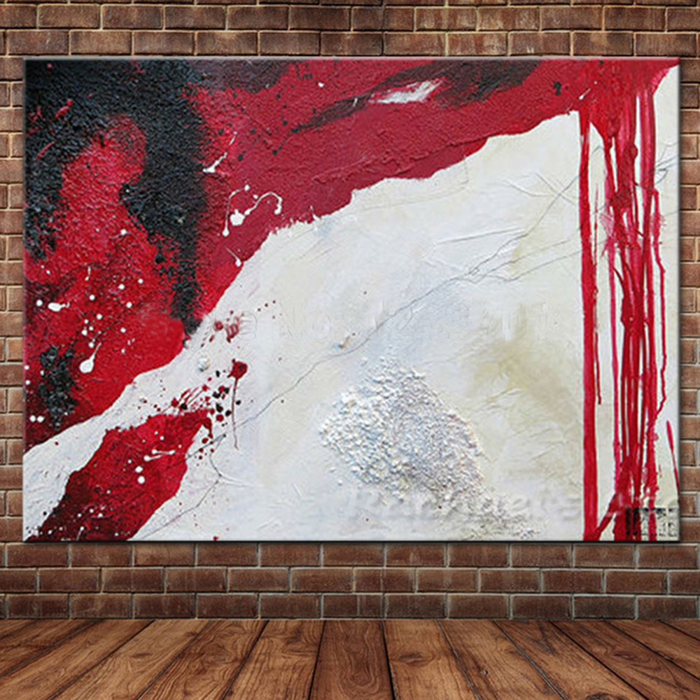 Hand Painted Modern Simple Color Abstract Oil Painting Red White Black home decor room hall wall art picture on canvas Room Dcor