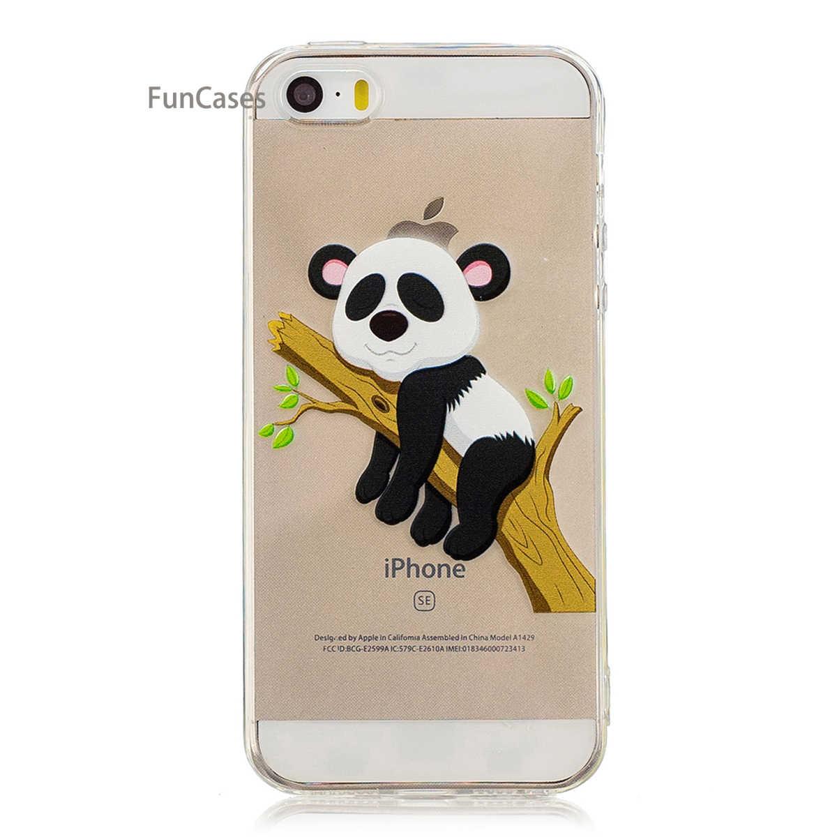 Funda de teléfono Panda encantadora sFor Etui iPhone 5 funda trasera de silicona suave Capa cubierta trasera abstracta para iPhone 5S SE 5C móvil Telefoan