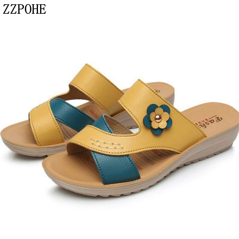 a98b09ba4802 ZZPOHE 2019 Summer new women s shoes genuine leather wedges casual mother  sandals elderly soft comfortable slippers