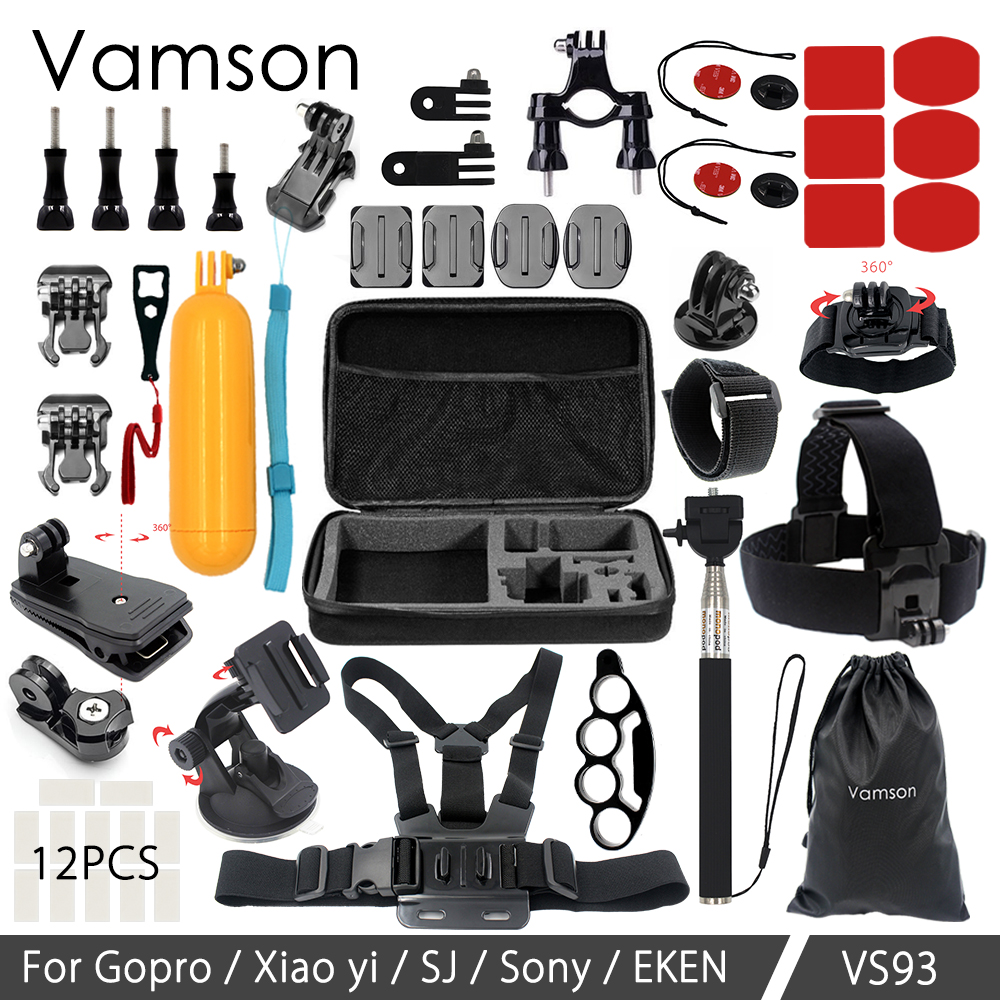 Galleria fotografica Vamson For Gopro accessories Set Mount Tripod for Gopro Hero 5 4 3 Sjcam Sj4000 for Go pro 5 kit for Xiaomi Yi 4K camera VS93