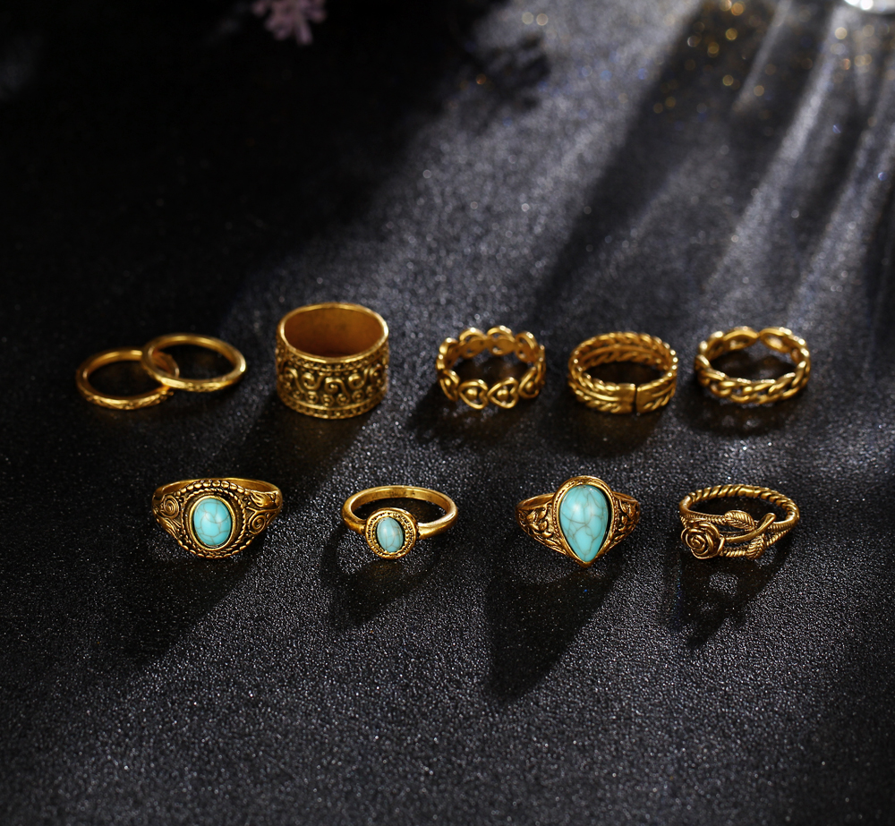 HTB1x9mzRXXXXXXCaXXXq6xXFXXXT 10-Pieces Vintage Tibetan Turquoise Knuckle Ring Set For Women - 2 Colors