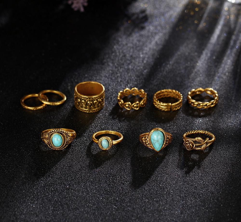 HTB1x9mzRXXXXXXCaXXXq6xXFXXXT 10-Pieces Vintage Tibetan Turquoise Knuckle Ring Set For Women - 2 Colors
