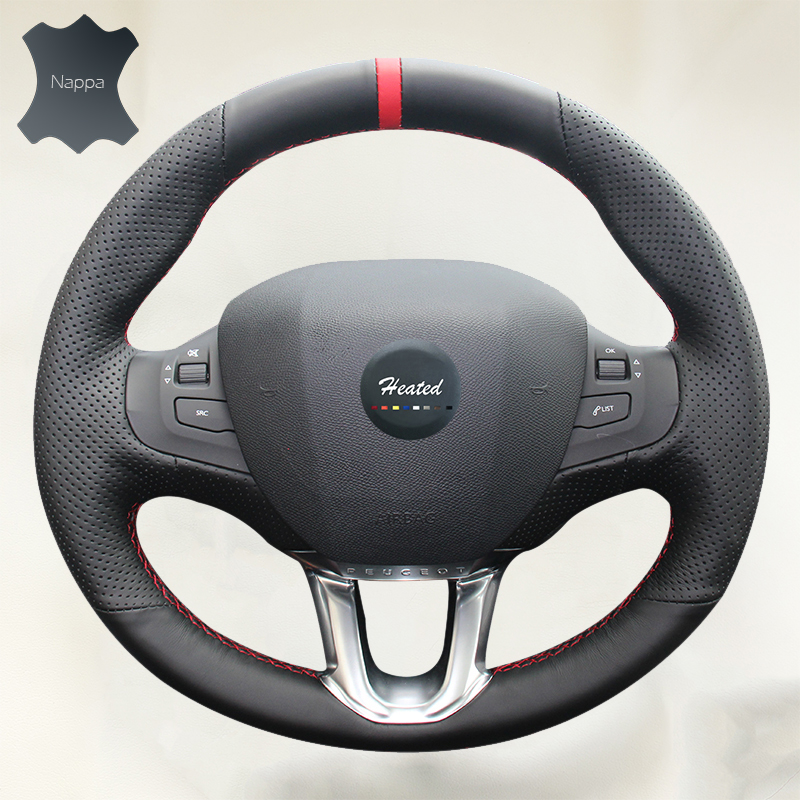 Natural Genuine Leather DIY Car Steering Wheel Cover for Peugeot 308s Car styling Accessories braid on the steering wheel