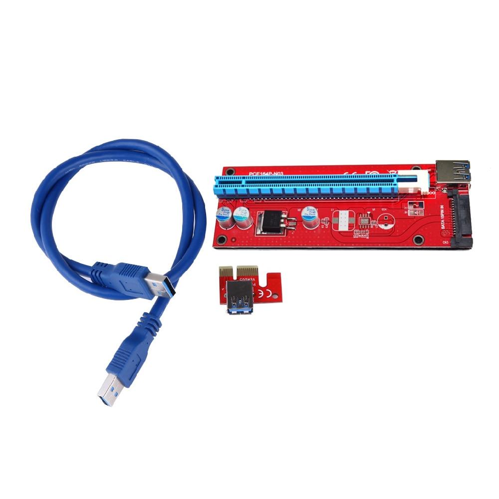USB 3.0 PCI-E Express 1x to16x Extender Riser քարտի ադապտեր 60 սմ USB 3.0 ընդարձակիչ մալուխով `bitcoin հանքարդյունաբերական սարքի համար