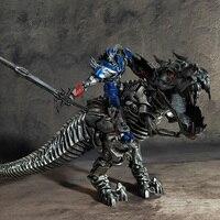 Transformation Movie 4 Optimus OP Tyrannosaurus Rex Statue Hand Dinosaur Model PVC Action Kid Dolls toy Skyreach pillar statue
