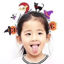 80731ff3 Behogar 6 piezas niños adultos pelo Clips cabeza Kit Bat calabaza fantasma  gato sombrero Pins Decoración de Halloween traje acce.