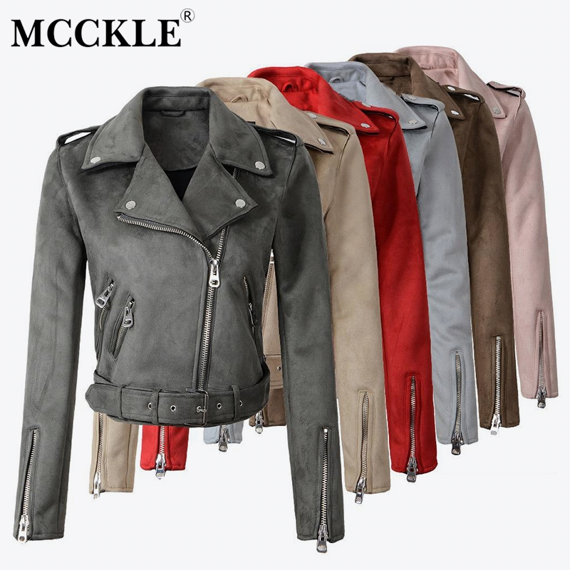 Women's Faux PU   Leather     Suede   Short Jacket Multy Zipper Motorcycle Coat Womens 2019 Spring Fashion Biker Jackets Dropshipping