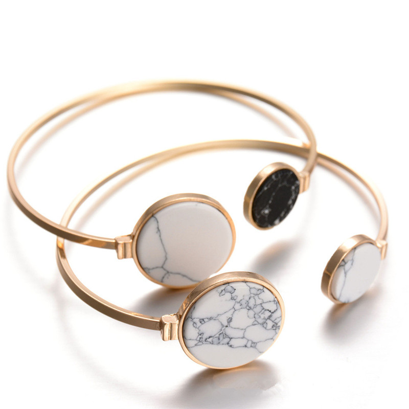 H:HYDE 2017 New Brand White Black Faux Marble Stone Round Geometric Bangle Gold Circle Cuff Bangle Bracelet For Women Bijoux