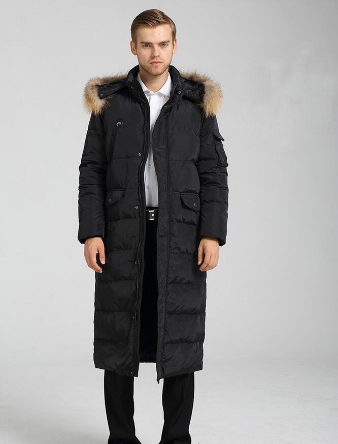 Taille S--10XL manteau en duvet pour hommes hiver Long doudoune manteau avec garniture en fourrure à capuche hommes doudoune