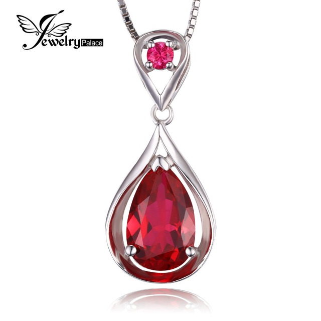 4d1672d276d4f US $19.98 |JewelryPalace Water Drop 4ct Created Red Ruby Pendant  Anniversary 925 Sterling Silver For Women Fine Jewelry Without a Chain-in  Pendants ...