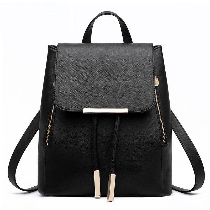 Designer Women Casual Backpack Teens Girls Preppy Style School Bags PU Leather Ladies Black Rucksack Mochila Escolar Day Pack