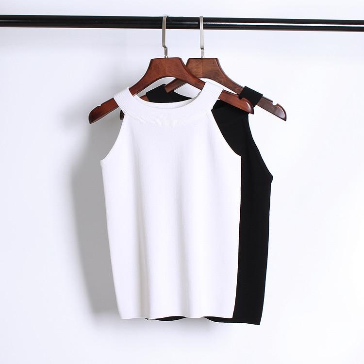 Yaz Kadın Ince Örgü Halter Kaşkorse Kadın Bodycon Örme - Bayan Giyimi - Fotoğraf 4