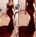 Бургундия милая платье элегантный секси длинный бархат русалка вечерние платья 2016 вечерние платья Vestido Festas халат де вечер