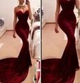 Borgonha querida Vestido elegante Sexy longo De veludo sereia vestidos 2016 vestidos formais Vestido De Festas robe De soirée