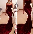 Burgundy Sweetheart Dress Elegant Sexy Long Velvet Mermaid Evening Dresses 2016 Formal Gowns Vestido De Festas robe de soiree