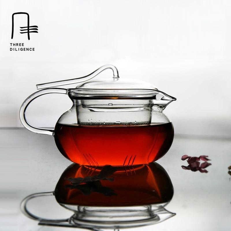 350ml glass tea pot teaset practical resistant cup glass teapot Filter Teapot flower Puer Kettle Coffee fair mug clear glass