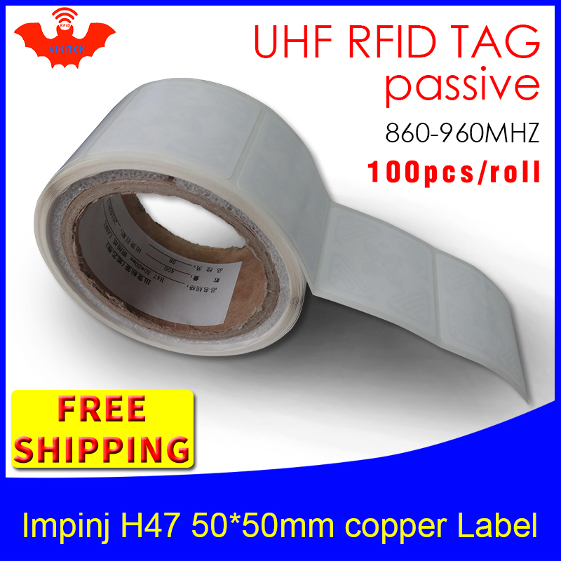 UHF RFID Tag EPC 6C Sticker Impinj H47 Printable Copper Label 915m868mhz Higgs3 100pcs Free Shipping Adhesive Passive RFID Label