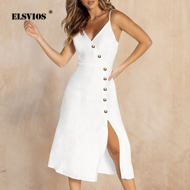 c06962a728a4 ELSVIOS Summer V-neck Single Breasted Split Midi Dress Women 2019 Sexy  Backless Strap Beach Dresses Solid Sleeveless Party Dress