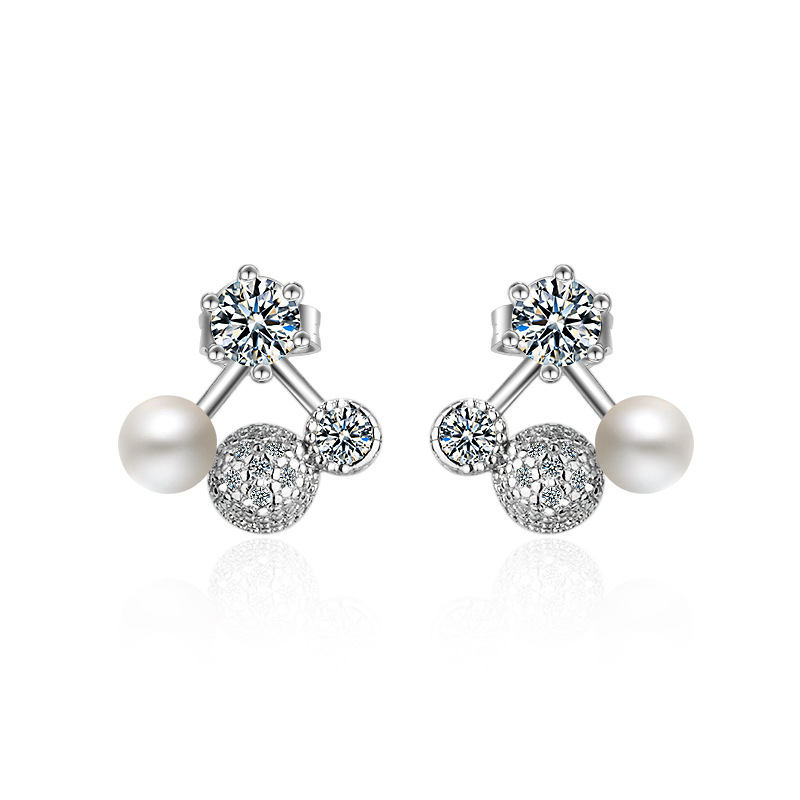 Wholesale 925 sterling silver fashion imitation pearl crystal flower ladies stud earrings jewelry Anti allergy drop shipping in Stud Earrings from Jewelry Accessories