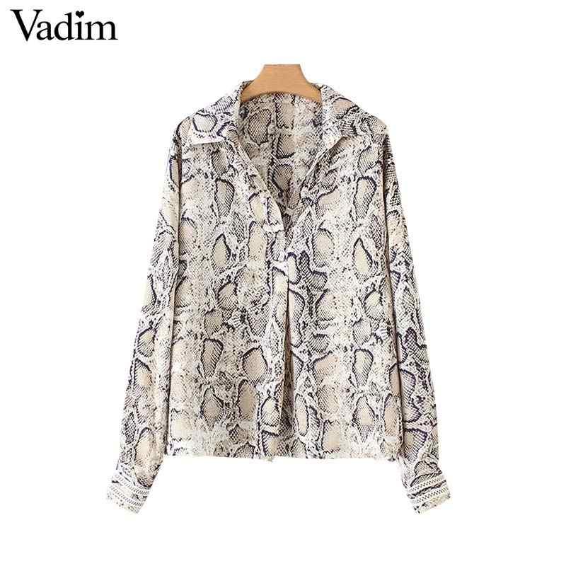 Vadim women snake skin print oversized blouse animal pattern long sleeve  shirts vintage female casual loose bce34c292