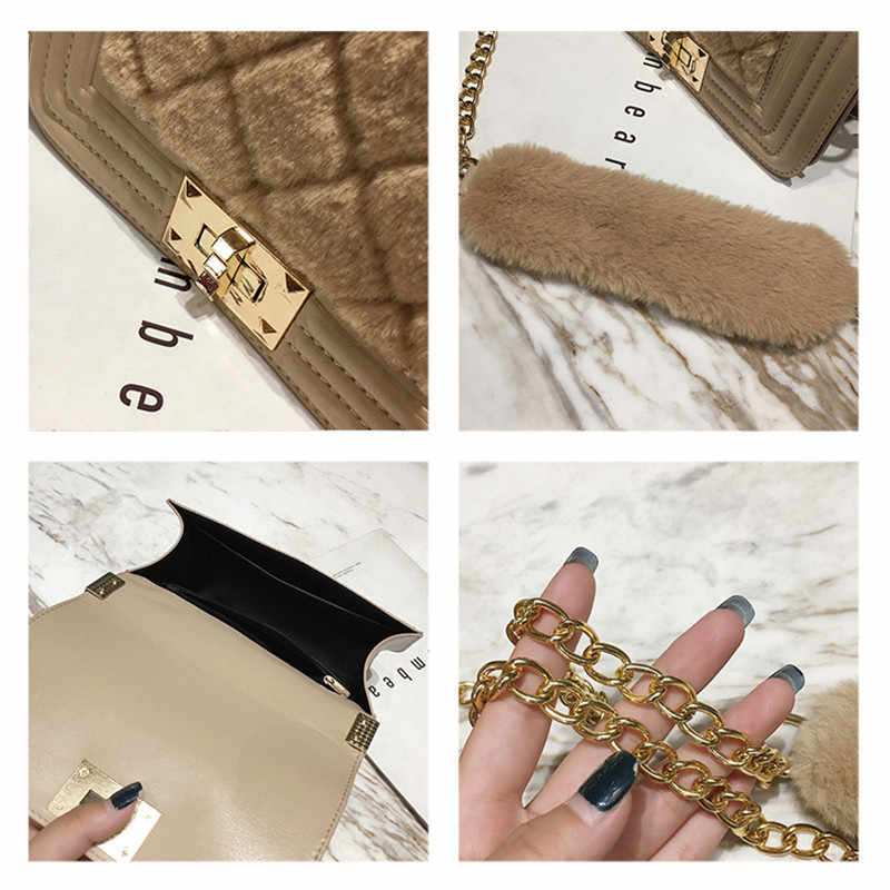 ... NIGEDU Winter Faux fur Women Handbag small Chain flap Shoulder Bags  Diamond lattice Girls Messenger crossbody ... 3536dfeb7013a
