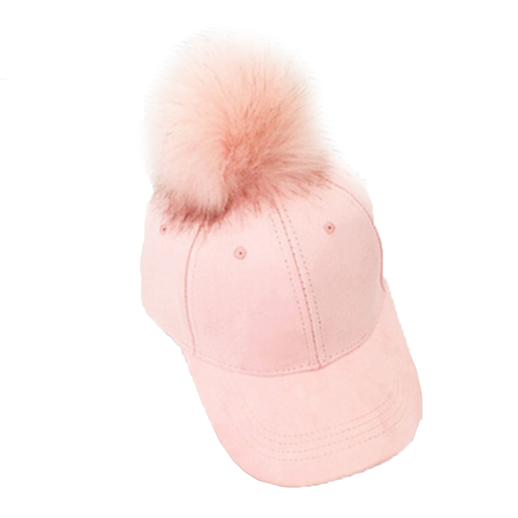 Winter Pompom Suede Baseball Cap Women Autumn Casual Streetwear Cap Girls Baseball Hat