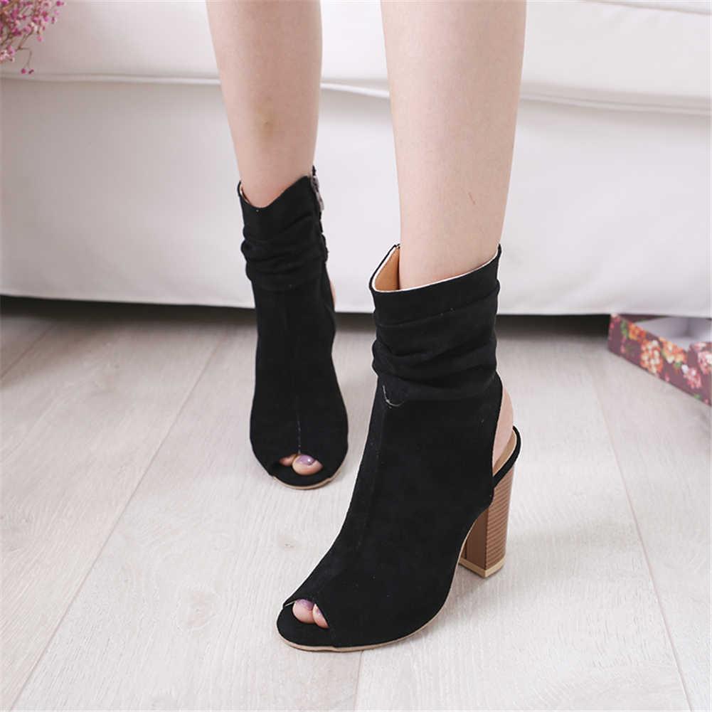 Модные женские летние ботинки на не сужающемся книзу массивном высоком каблуке Женская обувь женские черные ботинки с открытым носком на молнии женские ботинки