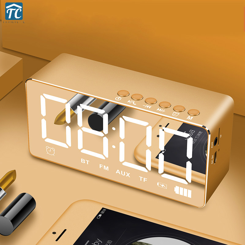 Desktop Alarm Clock Smart Bluetooth Speaker Wireless Mobile Subwoofer LED USB Home Decor Digital Clocks Electronic Music Player