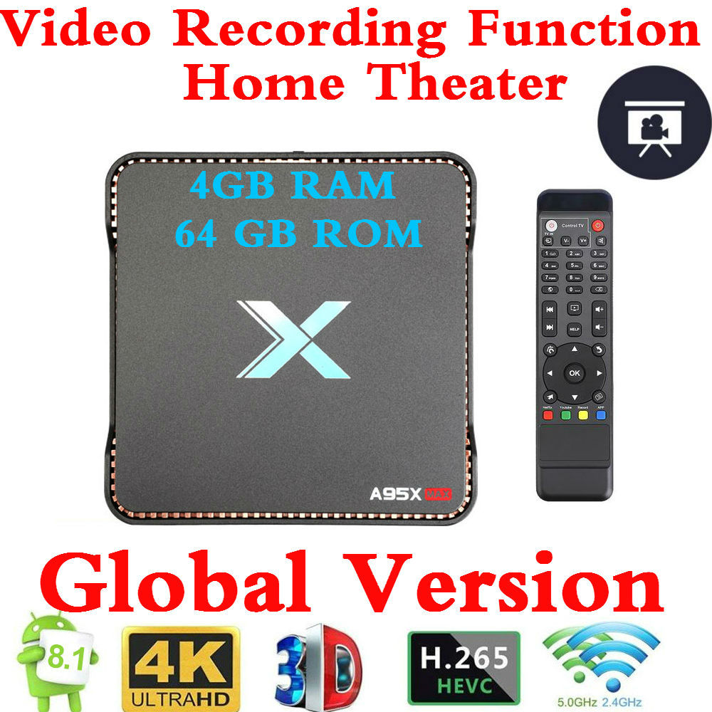 Enregistrement vidéo Android 8.1 TV Box A95x Max X2 4GB RAM 64GB ROM Amlogic S905X2 QuadCore 2.4G & 5GH Wifi Smart 4K décodeur OTA