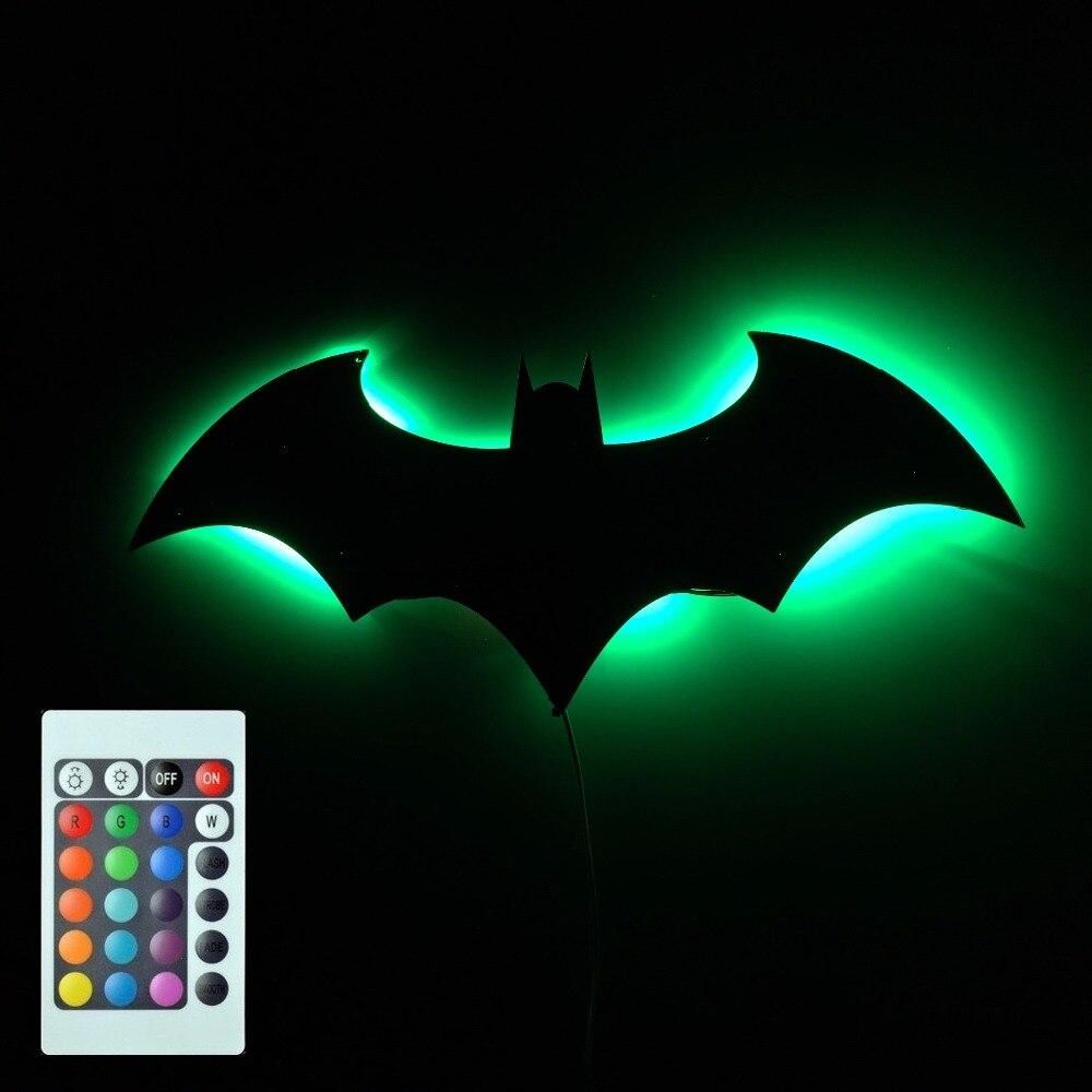 1piece Bat Shape Decorative Wall Mirror Led Hanging Light