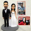 custom sculpture human face handmade polymer clay doll cartoon animal figure dolls bride groom wedding gift engraved name custom