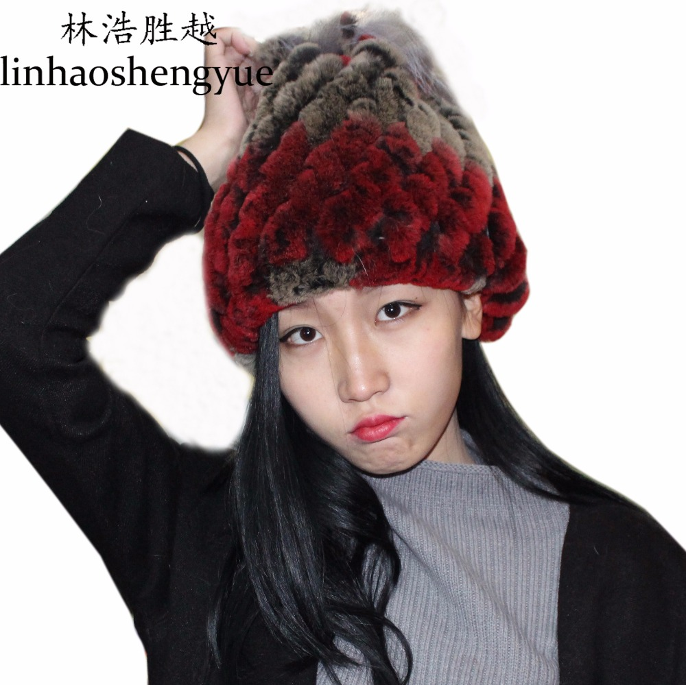 Linhaoshengyue topi kelinci 2016 bulu nyata bulu kelinci topi wanita - Aksesori pakaian - Foto 1