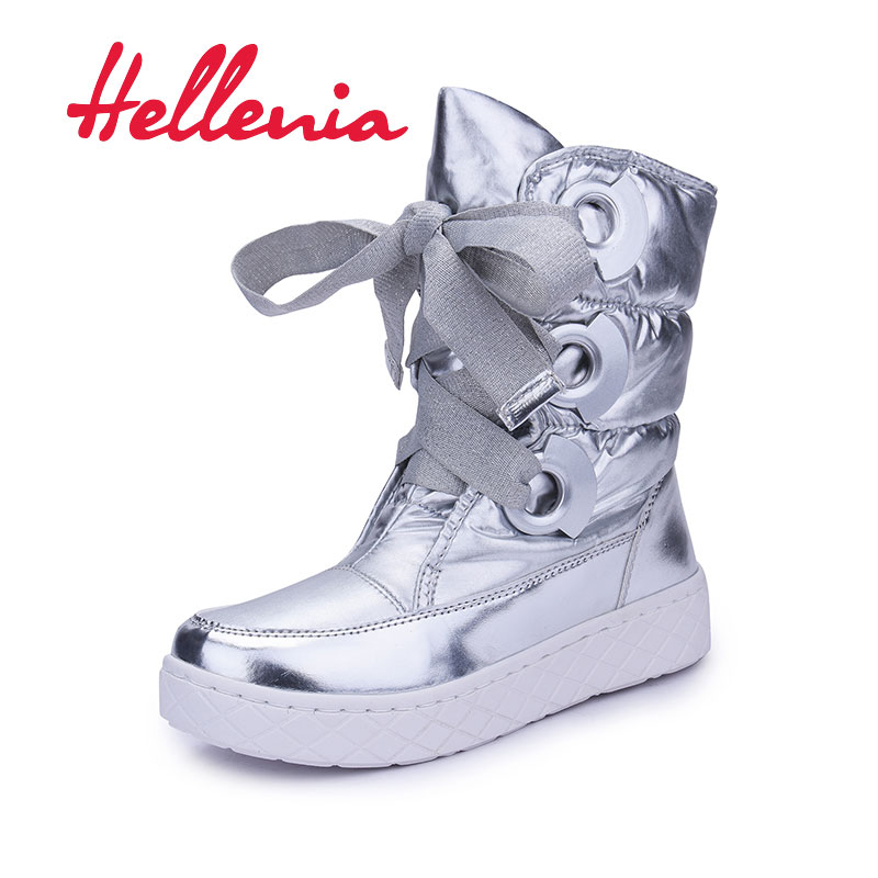 Hellenia New Winter Snow Boots for girls fashion Children's Shoes Flat Warm lace up Plush casual Boots silver size 36-39
