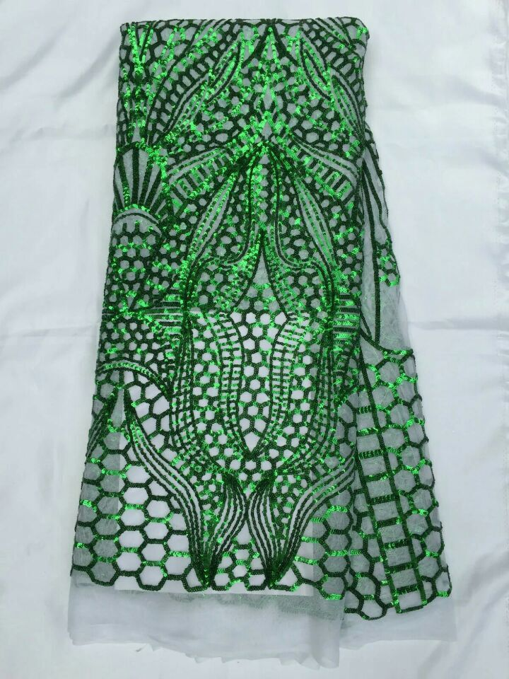 Nouvelle mode africaine maille dentelle robe de soirée avec paillettes modèle français net dentelle tissu pour vêtements QN44, 5 yards/pc - 4