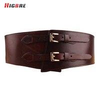 HIGBRE 2018 Double Belts Buckle Women Waist Belt Genuine Leather Wide Cummerbunds Female Girdle For Plus Size Cintos Femininos