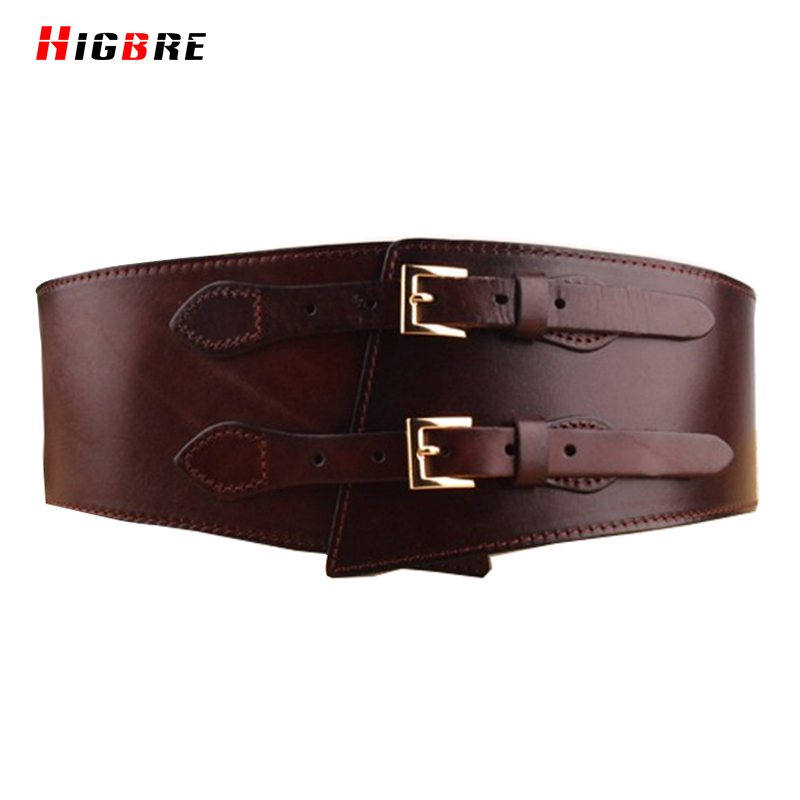 HIGBRE 2019 Double Belts Buckle Women Waist Belt Genuine Leather Wide Cummerbunds Female Girdle For Plus Size Cintos Femininos