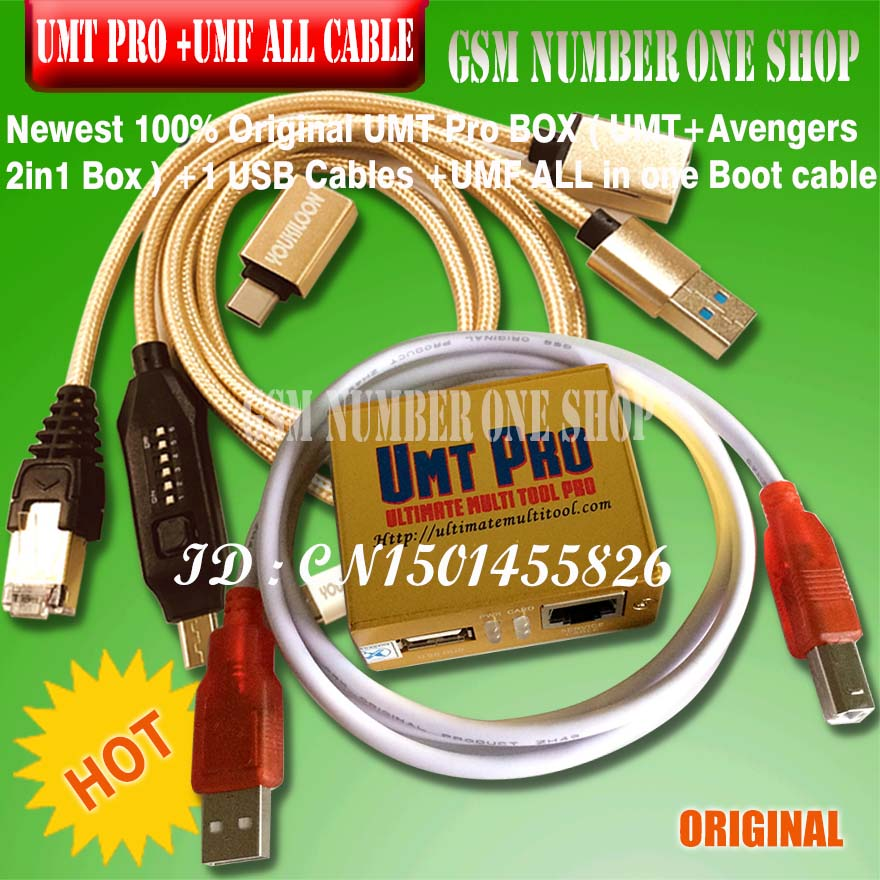 2019 Newest 100% Original UMT Pro BOX UMT+Avengers 2in1 Box With 1 USB Cables + Umf All In I Boot Cable Set