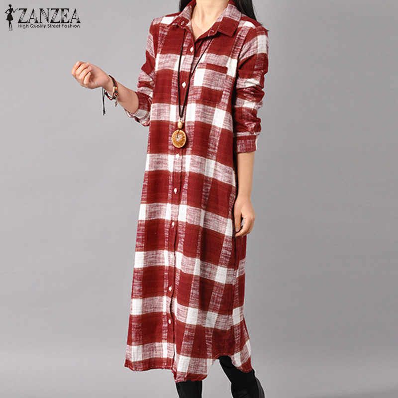 de3ef6ce 2018 ZANZEA Autumn Retro Plaid Check Turn-down Collar Long Sleeve Women  Casual Loose Shirt